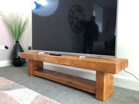 Hand-Crafted Rail-Way Sleeper TV Unit / Media Stand. Made to order.