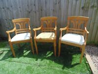 3 SOLID PINE FARMHOUSE CARVER CHAIRS ALL IN EXCELLENT CONDITION £20 EACH