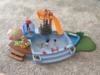 Playmobil pool with slide and working shower