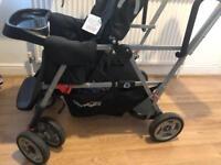 Joovy Caboose Ultralight Stand on Tandem Double Pushchair / Stroller for Newborn (Black)