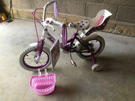 """Raleigh Krush 14"""" Girls Bike - Purple & White, 4 - 6 Years, Like New Condition"""