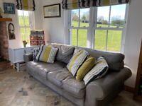 Large grey leather sofa