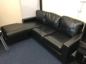 Carla Faux Leather Corner Sofa - Black