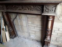 Vintage solid oak fire surround