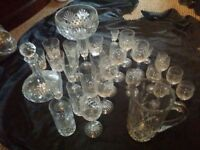 Set of crystal glasses, bowl, jar