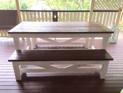Wooden table and Bench Seats