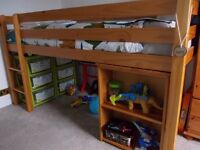 pine cabin bed with pull out desk, small kids wardrobe