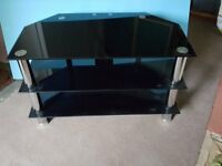 SMOKED GLASS 3 LEVEL TV TABLE