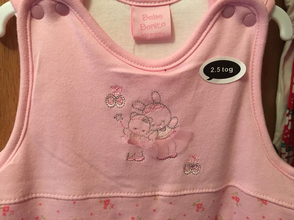 Brand new 0-6 pink 2.5 tog baby grow sleeping bag