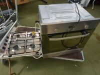 silver built in electric cooker with gas hob
