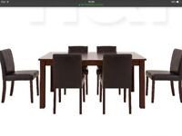 PRIMO 7 PIECE DINING TABLE AND 6 CHAIRS NEW BOXED BROWN and WALNUT