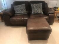 2 Brown Leather Sofa's and storage footstool/pouffe