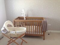 Mamas and papas cot bed and accessories