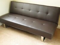 **Quality Double sofa/bed in chocolate brown, made from PU leather**As New**