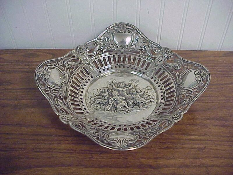 Antique Pierced Rim Repousse Putti Motif Continental 800 Silver Bowl 10.25""