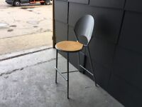 Wooden and metal high stool
