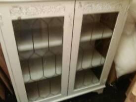Shabby chic display cabinet white
