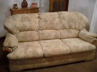 sofa and two armchairs G plan fabric,meets fire regulations,very good condition ,and comfortable