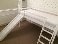 White Single Mid-Sleeper Bed with Slide