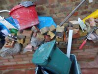 Clearance : Hard core broken bricks , some slab, some timber, Oak Effect Kitchen Cupboard