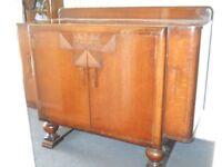 G Plan art deco dark oak sideboard liquor cabinet on ball legs