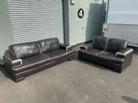 Beautiful real leather sofas 3&2 delivery 🚚 sofa suite couch furniture