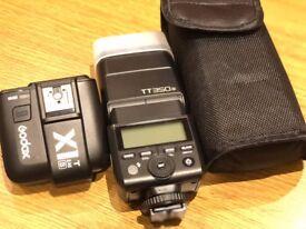 Godox TT350S 2.4G TTL Speedlite Camera Flash + X1T-S TTL 2.4G Trigger Tran + Softbox + Bowers Mount