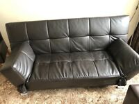 Faux leather look sofa bed , foot stool and chair