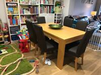 Oak Veneer Dining Table And 4 Leather Chairs From NEXT