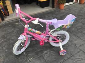 Girls kids bike Disney Princess Hardly Used. FREE Pepper Pig Helmet