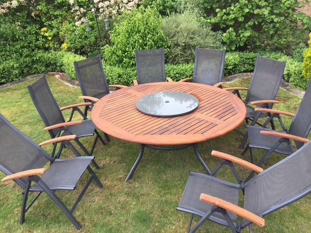 Hartman Teak Garden Table and 8x Chairs with granite lazy Susan. Hartman Teak Garden Table and 8x Chairs with granite lazy Susan