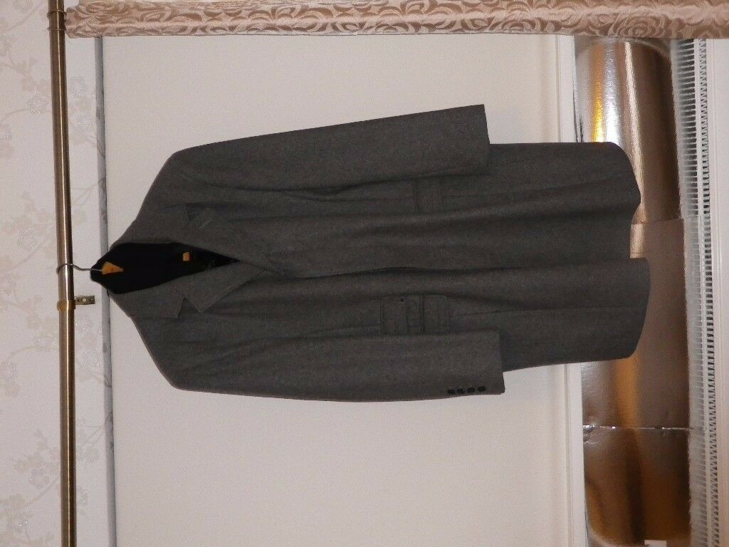 GENTS JASPER CONRAN WOOLLEN WINTER COAT CHARCOAL GREY