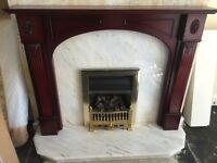 Marble Fire Place, Surround & Gas Fire