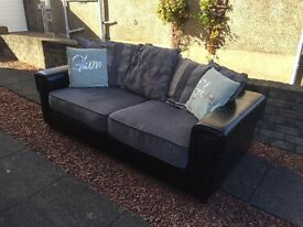 Grey and black 3 seater sofa