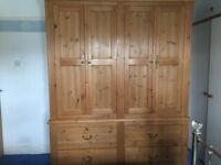 Large double wardrobe in antique pine