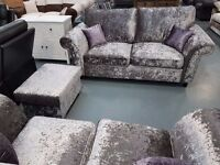 Full Back Crush Velvet 3+2 Sofa With Lilac Cushions. RRP £799. Free Delivery Up To 20 Miles