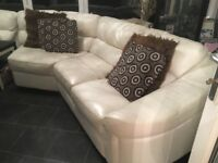 White Leather Corner Unit