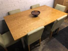 Contemporary modern solid oak top extending dining table and chairs x 6
