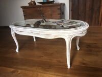 Shabby chic antique white with distressed gold coffee table
