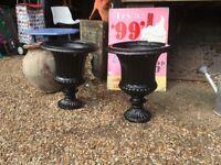 Pair of Vintage Cast Iron Garden Urns