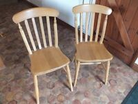 2 pine dining room or kitchen chairs