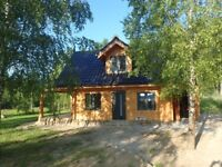Beautiful, newly built log house in a peaceful lake district area in Poland - sleeps up to 6 + child