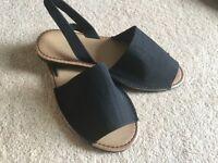Black fabric sandals NEW
