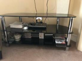 Lovely looking black / chrome Tv Stand ' Glass ' Excellent condition