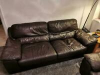 Brown 2 piece Leather sofa