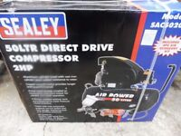 SEALEY 2HP COMPRESSOR WITH 50LTR TANK AND ACCESSORIES
