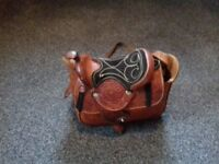 Real leather saddle look bag