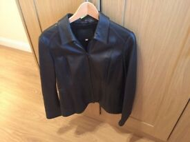 Marks and Spencer M&S Women's Leather Jacket Black Size 14
