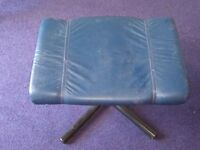 Bargain! Blue Leather footstool