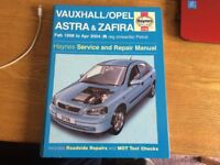 VAUXHALL ZAFIRA / ASTRA HAYNES WORKSHOP MANUAL 1998 TO 2004